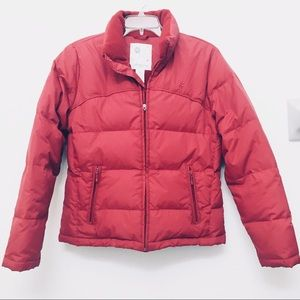 Puffer Coat Cherry Red 80% down/20% feathers
